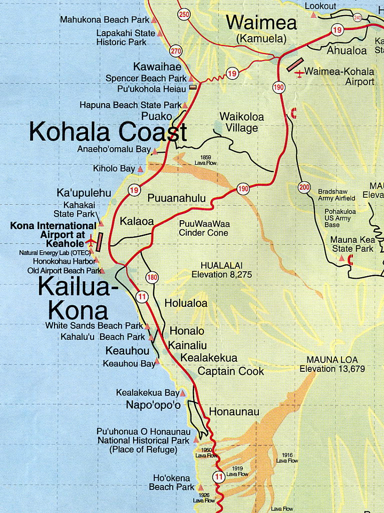 Map Of Kona Image: Map of Kona Coast, Hawaii Map Of Kona